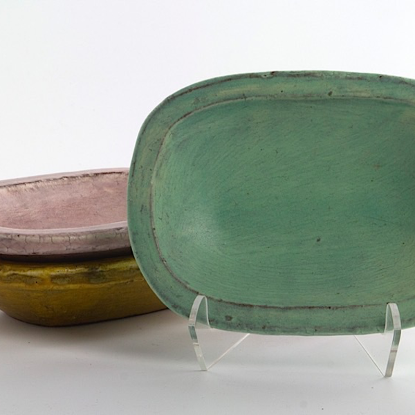 "Joe Pintz Joe Pintz, Small Dish, handbuilt earthenware, 4 x 5.75 x 1.25"""