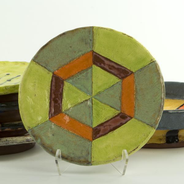 "Holly Walker Holly Walker, Small Round Plate, terra cotta, glaze, 1h x 6.75"""
