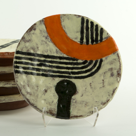 Holly Walker Holly Walker, Small Round Plate, terra cotta, glaze, 1h x 6.75""