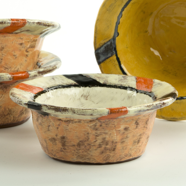 "Holly Walker Holly Walker, Top Hat Bowl, terra cotta, glaze, 2.5h x 6.25"""