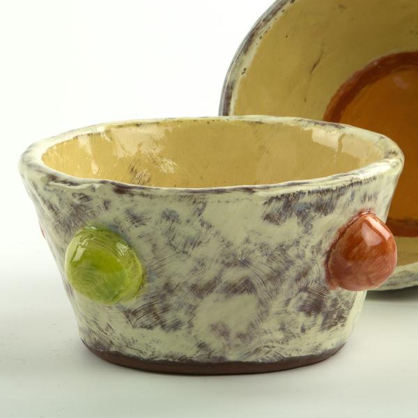 "Holly Walker Holly Walker, Cottontail Bowl, terra cotta, glaze, 2.5h x 5.75"""