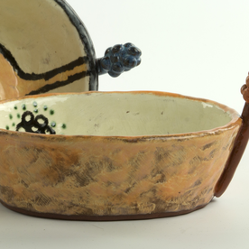 "Holly Walker Holly Walker, Muscari Bowl, terra cotta, glaze, 3.75 x 8 x 5.5"""