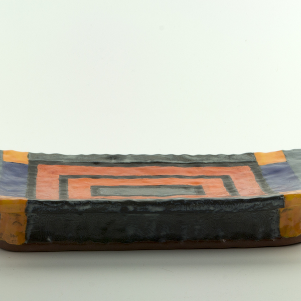 "Holly Walker Holly Walker, Rectangular Hanging Tray, terra cotta, glaze, 2 x 12.5 x 7.25"""