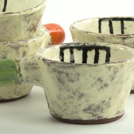 "Holly Walker Holly Walker, Bee Cup, terra cotta, glaze, 2.5h x 6 x 4"""