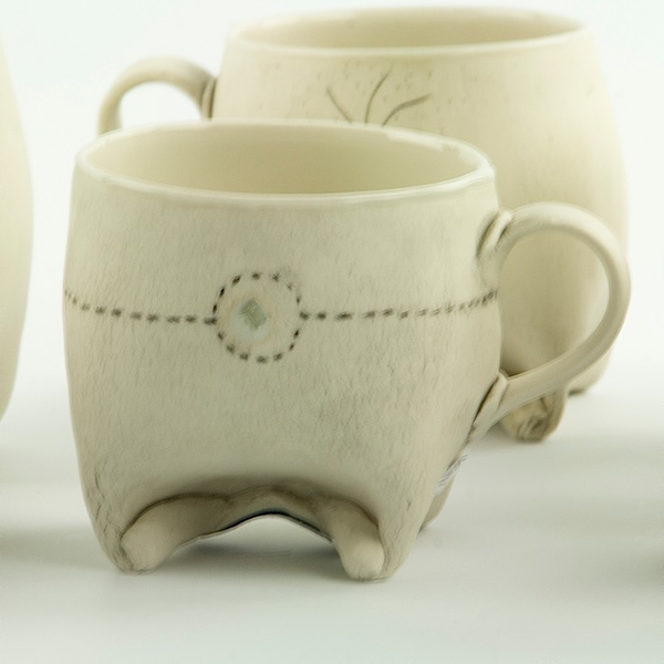 Annette Gates Annette Gates, Small Rolled Foot Mug, porcelain, 2.75 x 4 x 2.75""