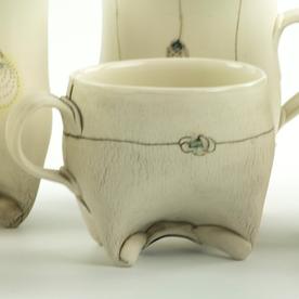 "Annette Gates Annette Gates, Small Rolled Foot Mug, porcelain, 2.75 x 4 x 2.75"""