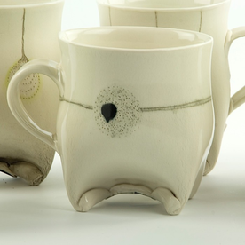 "Annette Gates Annette Gates, Rolled Foot Mug, porcelain, 3.5 x 4 x 3"""