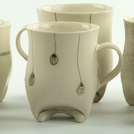 "Annette Gates Annette Gates, Rolled Foot Mug, porcelain, 3.75 x 4 x 2.75"""