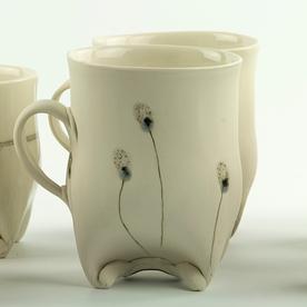 "Annette Gates Annette Gates, Rolled Foot Mug, porcelain, 4.5 x 4.25 x 3"""