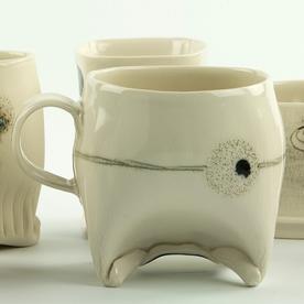 "Annette Gates Annette Gates, Rolled Foot Mug, porcelain, 3.5 x 4.5 x 3"""