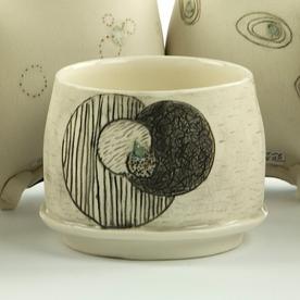 """Annette Gates Annette Gates, Flat Foot Yunomi, porcelain, 2.5 x 3 x 3"""""""