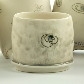 """Annette Gates Annette Gates, Flat Foot Yunomi, porcelain, 2.75 x 3 x 2.75"""""""