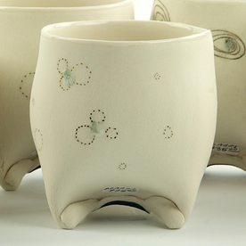 "Annette Gates Annette Gates, Rolled Foot Wine Cup, porcelain, 3.25 x 3 x 3"""
