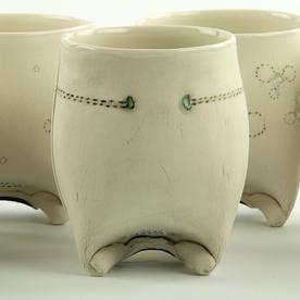 "Annette Gates Annette Gates, Rolled Foot Wine Cup, porcelain, 3.75 x 3.25 x 3"""