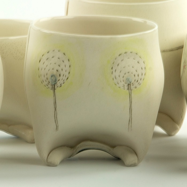 "Annette Gates Annette Gates, Rolled Foot Wine Cup, porcelain, 3.5 x 3 x 2.75"""