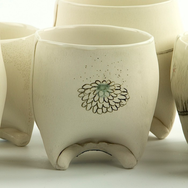 Annette Gates Annette Gates, Rolled Foot Wine Cup, porcelain, 3.25 x 3 x 3""
