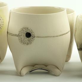 "Annette Gates Annette Gates, Rolled Foot Wine Cup, porcelain, 3.5 x 3.5 x 3"""
