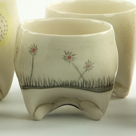 Annette Gates Annette Gates, Rolled Foot Wine Cup, porcelain, 2.75 x 3 x 2.75""