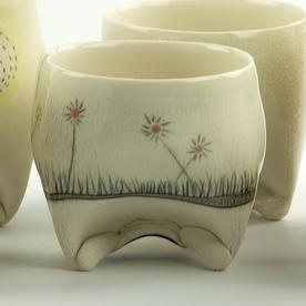"Annette Gates Annette Gates, Rolled Foot Wine Cup, porcelain, 2.75 x 3 x 2.75"""