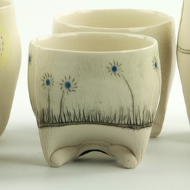 Annette Gates Annette Gates, Rolled Foot Wine Cup, porcelain, 2.75 x 3 x 2.5""
