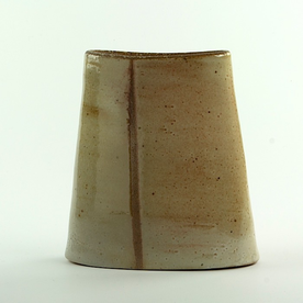 Nancy Green Nancy Green, Verticle Stripe Envelope Vase, stoneware, 7.25 x 6.5 x 2.5""
