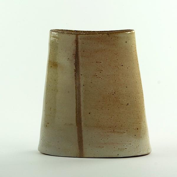 "Nancy Green Nancy Green, Verticle Stripe Envelope Vase, stoneware, 7.25 x 6.5 x 2.5"""
