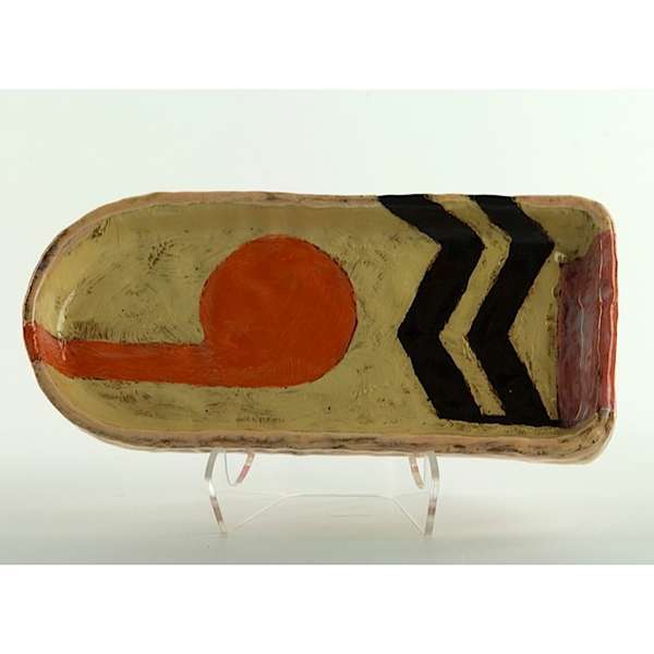 Holly Walker Holly Walker, Small Tray, terra cotta, glaze, 1.5 x 8.25 x 3.75""