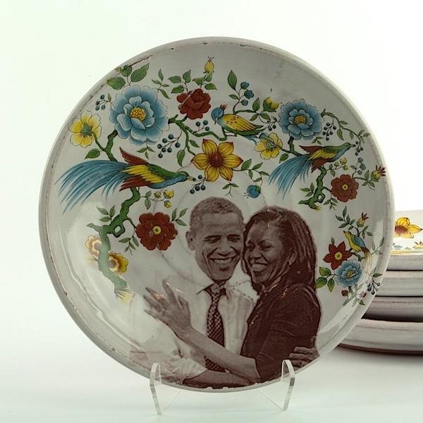 """Justin Rothshank Justin Rothshank, Small Decorative Plate, Obamas, 8.25"""""""