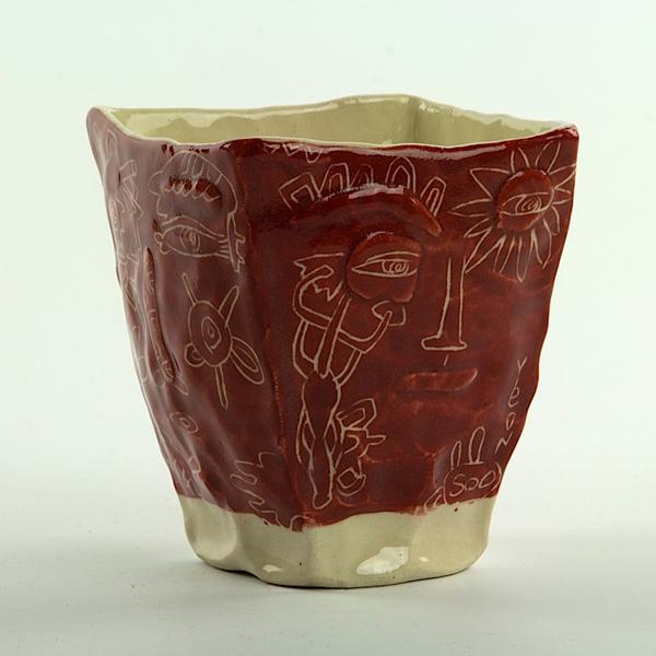 "Yeonsoo Kim Yeonsoo Kim, Square Cup, handbuilt porcelain,, 3.75 x 3.5 x 3.5"""