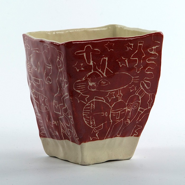 "Yeonsoo Kim Yeonsoo Kim, Square Cup, handbuilt porcleain, 3.75 x 3.5 x 3.5"""