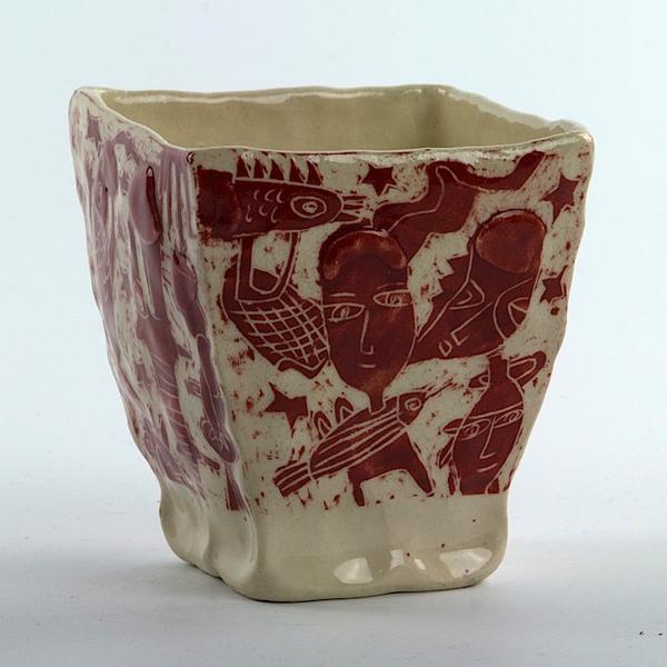 "Yeonsoo Kim Yeonsoo Kim, Square Cup, handbuilt porcelain, 3.75 x 3.5 x 3.5"""