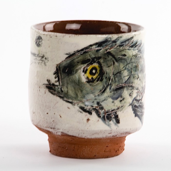 "Ron Meyers Ron Meyers, Yunomi w/Fish, earthenware, 3.5 x 3.25"""