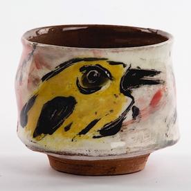 "Ron Meyers Ron Meyers, Teabowl w/Bird, earthenware, 3.5 x 4"""