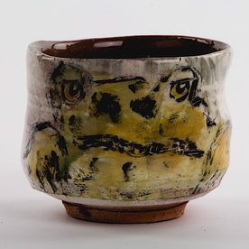 Ron Meyers Ron Meyers, Teabowl w/Frog, earthenware, 3.5 x 4""
