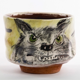 Ron Meyers Ron Meyers, Teabowl w/Cat, earthenware, 3.75 x 4.5""