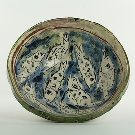 Ron Meyers Ron Meyers, Serving Bowl w/Fish, earthenware, 3.5 x 1-.25""