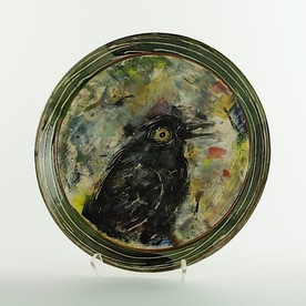 Ron Meyers Ron Meyers, Platter w/Blk Bird, earthenware, 11.25""