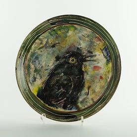 "Ron Meyers Ron Meyers, Platter w/Blk Bird, earthenware, 11.25"""