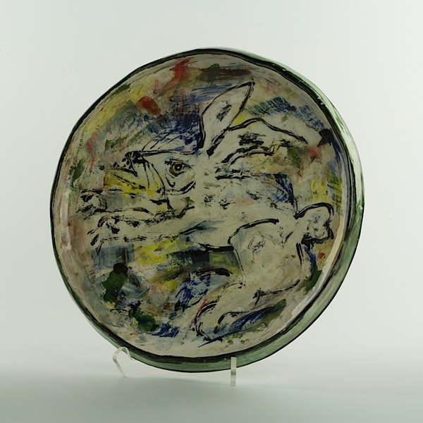 "Ron Meyers Ron Meyers, Platter w/Rabbit, earthenware, 11.5"""