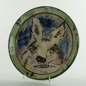 Ron Meyers Ron Meyers, Platter w/Rabbit, earthenware, 11.75