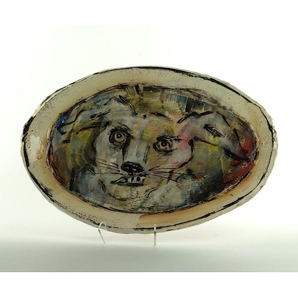 "Ron Meyers Ron Meyers, Oval Platter w/Rabbit, earthenware, 10.5 x 15"""