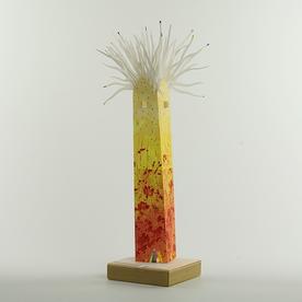 "Kemp Mooney* SOLD Kemp Mooney, Spring Tower, watercolor paper, basswood, 15 x 4 x 4"""
