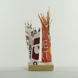Kemp Mooney* Kemp Mooney, Trio, recycled paper, basswood, 11 x 4 x""