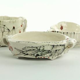 Ted Saupe Ted Saupe, Small Oval Bowl, handbuilt porcelain, 1.5 x 4.75 x 6""