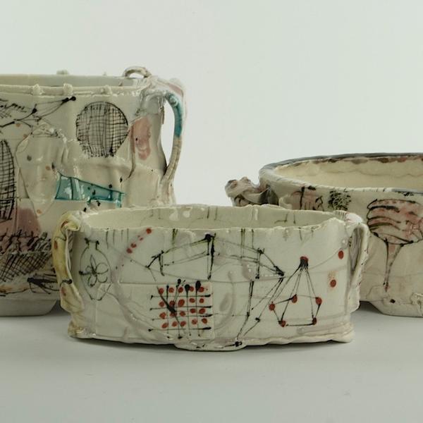 "Ted Saupe Ted Saupe, Oval Bowl, handbuilt porcelain, 2.5 x 6 x 3"""