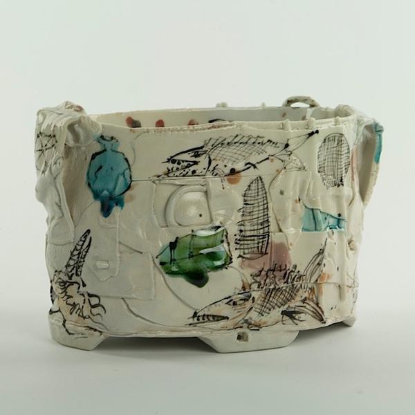 Ted Saupe Ted Saupe, Oval Bowl, handbuilt porcelain, 4.75 x 7 x 4