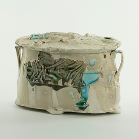 Ted Saupe Ted Saupe, Oval Box, handbuilt porcelain, 4 x 6 x 5""