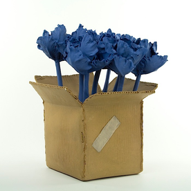 "Keok (KB) Lim KB Lim, Tulips in Box, stoneware, porcelain, 13 x 10.5 x 10"""