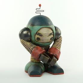 "Michael Klapthor Michael Klapthor, ZM-121 Robot Sentry, stoneware, glaze, 12x8x6.6"""