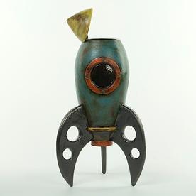 """Michael Klapthor Michael Klapthor, Rocket Vase, stoneware, glaze, 13x6.5x5"""""""